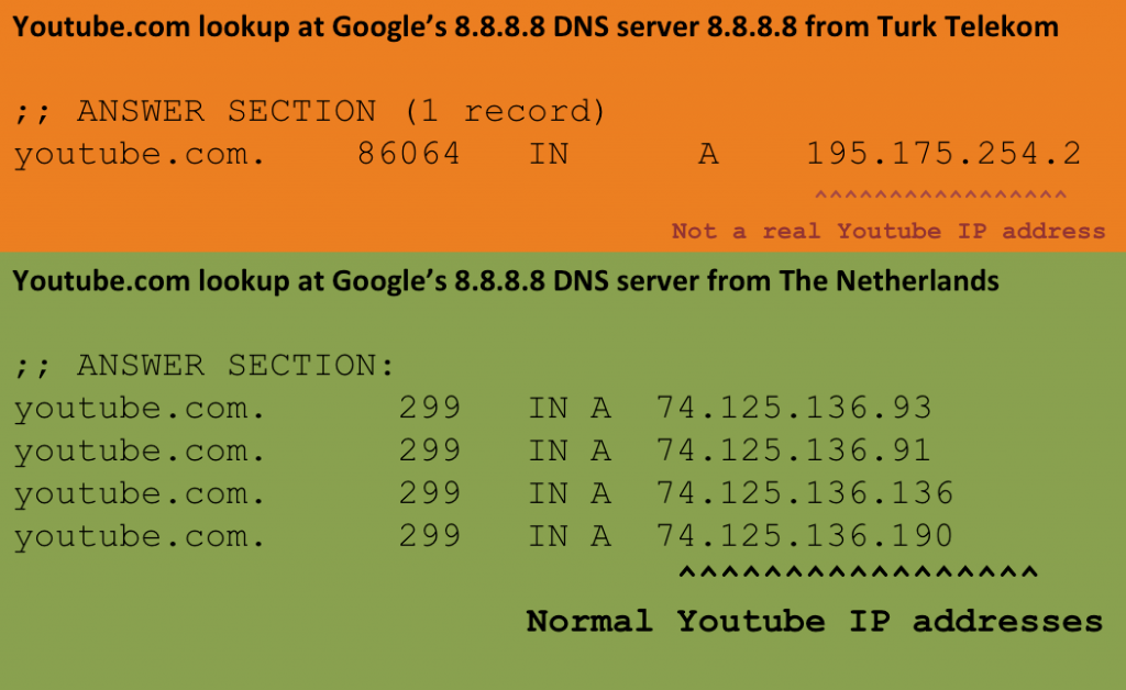 DNS lookup at 8.8.8.8 using RIPE Atals